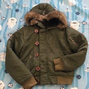 Juicy couture green bomber jacket medium fur hood